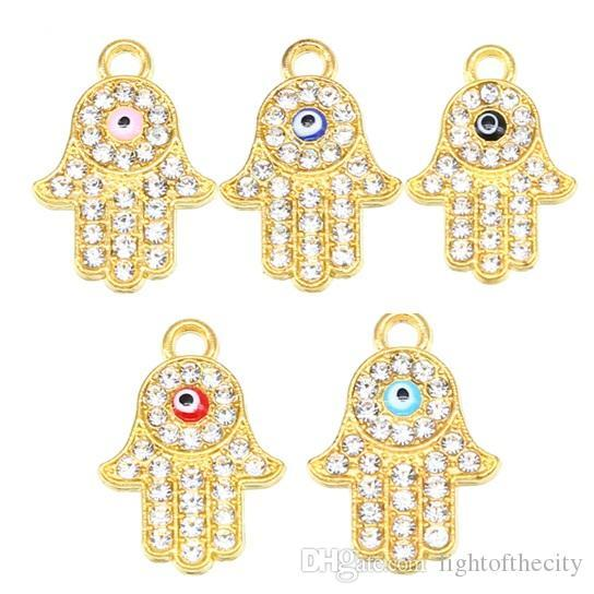 50pcs Hamsa Bracelet Accessories Turkey Evil Eyes Glamour Women Handmade Fatima Friendship Jewelry Necklace bracelet pendant wholesale