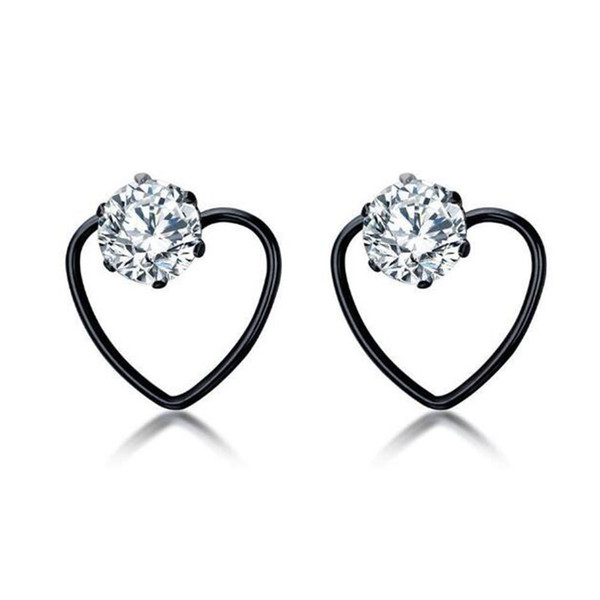 Gothic High Quality Girl's Hypoallergenic Surgical Steel Wire Heart Love Cubic Zirconia Stud Earrings for Women