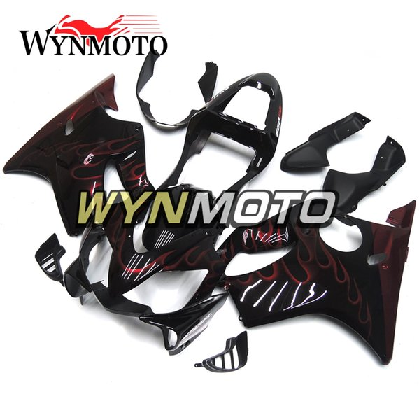 Injection ABS Plastic Motorcycle Full Fairings For Honda CBR600F4i 2001 2002 2003 CBR600 F4i 01-03 Bodywork Black With Red Flames Carenes