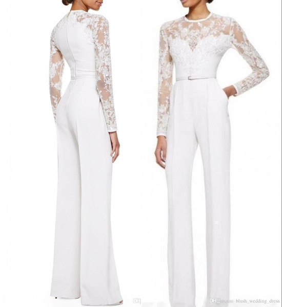 2019 Custom Made New White Mother Of The Bride Pant Suits Jumpsuit With Long Sleeves Lace Embellished Women Formal Party Evening Dresses