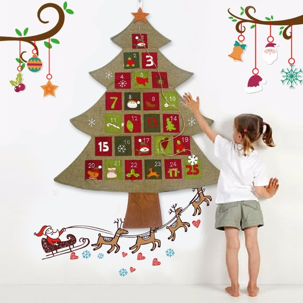 Hanging Christmas Decorations.Christmas Advent Calendar 2018 New Year Hanging Christmas Countdown Calendar Santa Claus Christmas Decorations For Home Animated Christmas Decorations