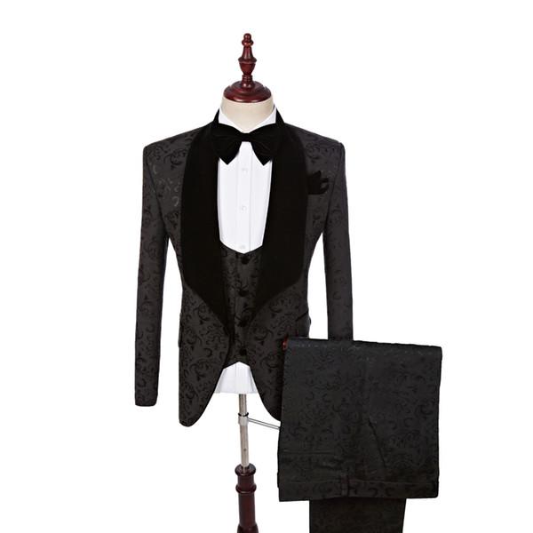 New Style Groom Tuxedos One Button Groomsmen Shawl Lapel Best Man Suit Wedding/Men Suits Bridegroom ( Jacket+Pants+Vest+Tie ) A63