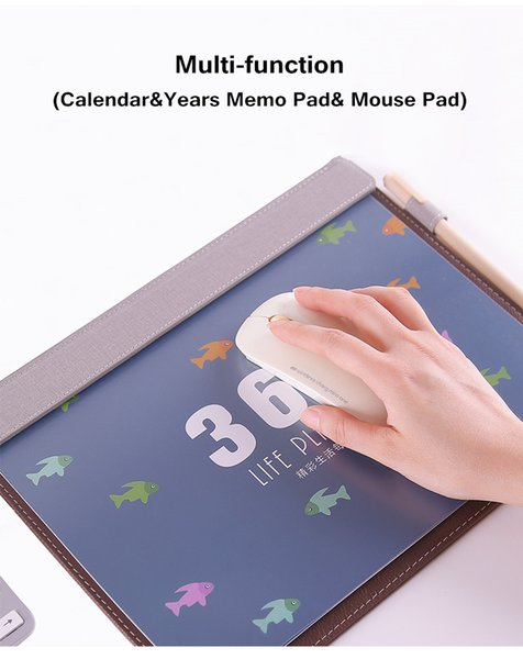 rinting Products Desk Calendar 2020.7-2021.12 Sharkbang Creative PU Multi-functional 365 Days Desktop Years Calendar Agenda & File Folder...