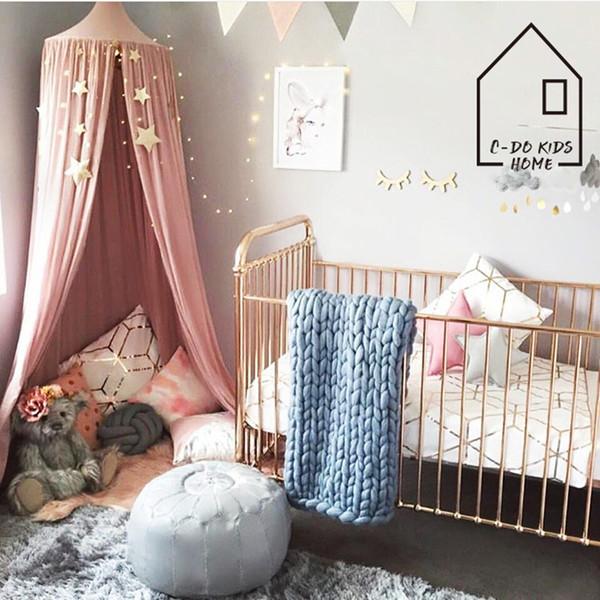 Crianças Tendas Casa Dossel Canopy Bed Cortina Bebê Pendurado Barraca Berço Crianças Room Decor Rodada Cúpula Pendurada Mosquiteiro cama