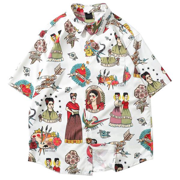 Men Holiday Shirt Polyester Print Male Hawaiian Beach Shirts Summer Short Sleeve Printing Loose Shirts