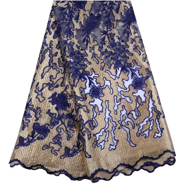 Alta calidad nigeriano tul bordado tela de encaje moda africana tela de encaje últimas piedras francesas de malla de encaje para la fiesta a1493