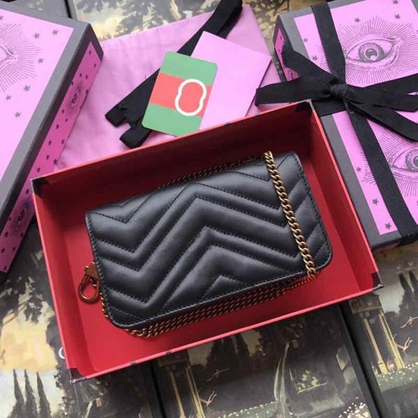 Borsa a spalla da donna in pelle di mucca rossa nera, borsa di piccole dimensioni con catena d'oro per uso quotidiano Dimensioni 18 * 10.5 * 4.5 cm