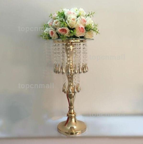 "55 cm/ 21.7"" Height Flower Rack Golden Crystal Ferris Wheel Flower Road Lead Wedding Table Party Centerpiece Holder Home Decor"