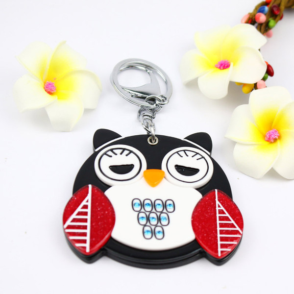 Fat owl compact mirror keychain new design cute keycharm acrylic keyholder fashion bag accessories pocket promotion great for travel or home