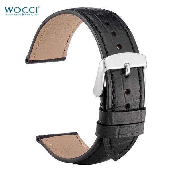 WOCCI Alligator Grain Черные кожаные ремешки для часов Ремешки для часов Ширина 18мм, 19мм, 20мм, 21мм, 22мм Ремешки для инструментов из нержавеющей стали