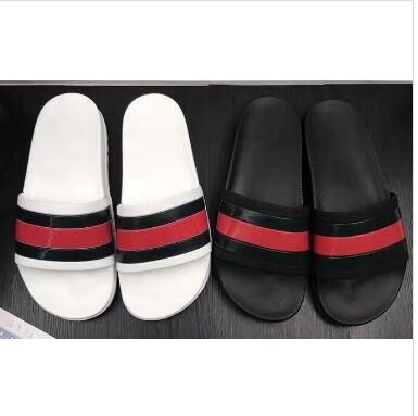 Zapatillas de sandalias con deslizamiento de goma negro, verde rojo, raya blanca, diseño de moda, hombres y mujeres con caja clásica para mujer, chanclas de verano