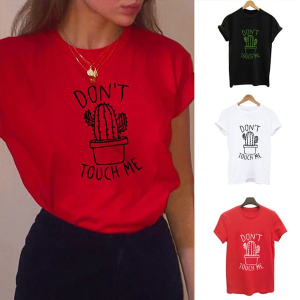 BANA KÖTÜ YAPMAYIN Kaktüs T gömlek Kadınlar Casual Yaz T-Shirt Pamuk Femme tees tops Vintage Siyah Beyaz Kırmızı T-shirt