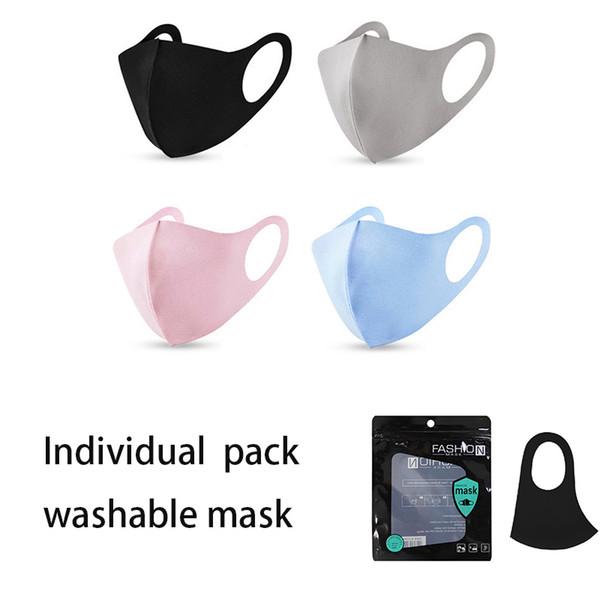 top popular Individual bag Party Masks Black Face Cover Respirator Washable Reusable Ice Silk Cotton Masks Festive & Party Supplies 2020