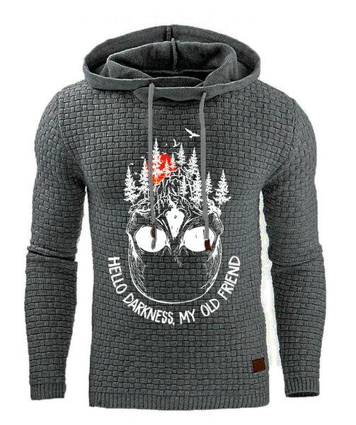 2020 new men's Hoodies & Sweatshirts European and American jacquard long-sleeved hooded warm color printed sweatshirt