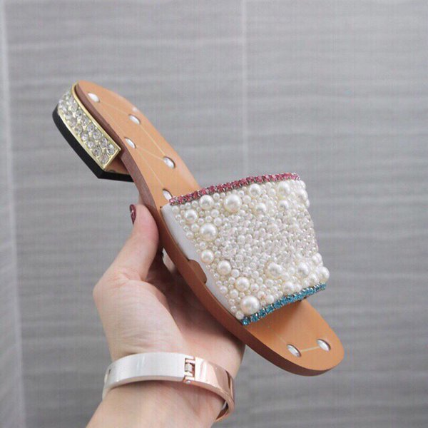 2019 Newest Women's Rhinestone low-heel slippers Pearl Designer work summer women sandals dress shoes classic trend fashion BIG Size 43/12