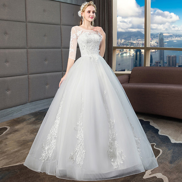 New bride one word long sleeves simple thin dress