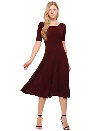 Zeagoo Women's Scoop Neck Short Sleeve Ribbed Knit Solid Casual A-Line Midi Dress