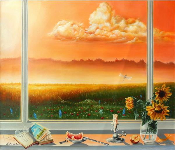 Sert Çalışma Ev Dekorasyonu İnşaat Müteahhitleri / Açık Tuval Wall Art Resim 191215 Boyama HD Baskı Yağı Boyama Alexander Borewko Çiçek Pencere Görünümü