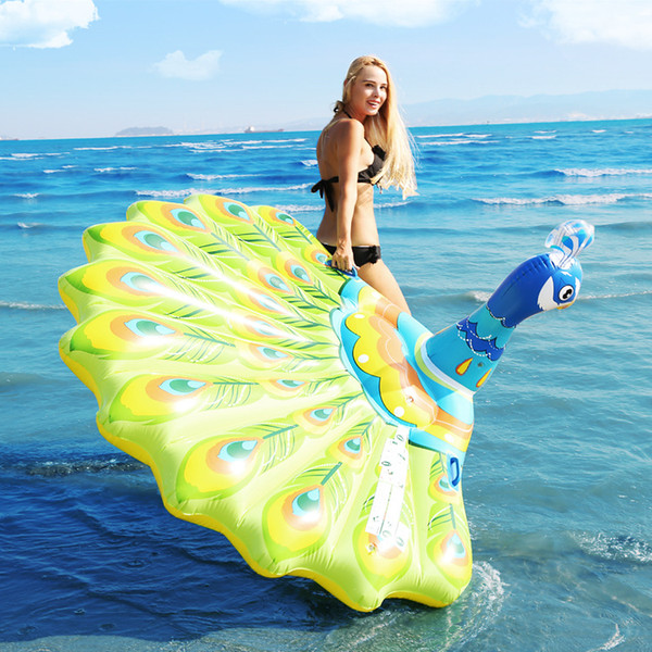 top popular 190cm Giant Inflatable Peacock Pool Float Inflatable Ride-on Floating Mattress Swimming Toys Water Fun Raft 2021