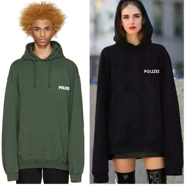 Outono Camisola de Grandes Dimensões Polizei Verde 16ss Moletom Bordado Com Letras Das Mulheres Dos Homens de Hiphop Hoodies Streetwear Roupas Urbanas