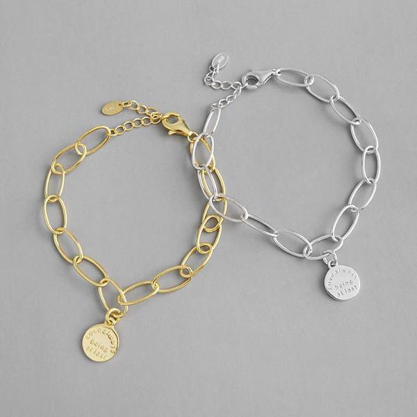 100% 925 Sterling Silber Kette Anhänger runde Armbänder für Frauen pulseras mujer, Minimalismus Farbe Gold Armbänder Armbandausdrücklichschmucksachen