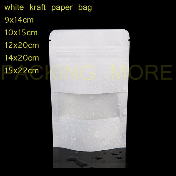 50pcs/lot free shipping white kraft paper bags stand up Zipper/zip lock packaging bag with window PE inside kraft paper pouch