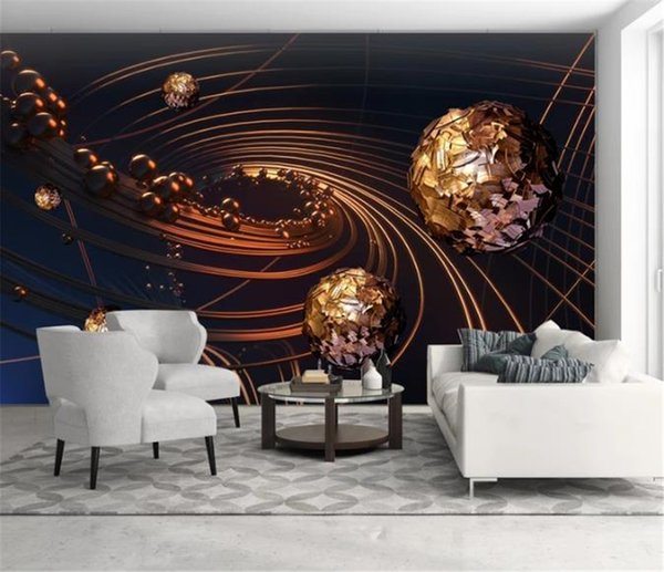 Оптовые роскошные обои 3d для фантазии Золотая линия сфера 3d визуализации обои цифровая печать влагостойкие расширенный обои