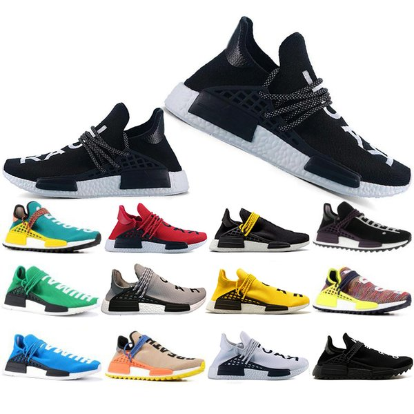 Top Fashion Human Race Hu trail pharrell williams Running shoes Men Nerd black cream mens trainer women designer sports sneakers US 5-12