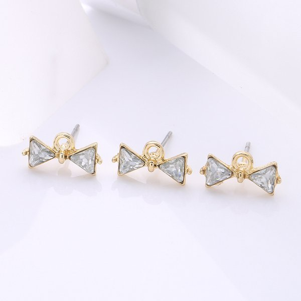 wholesale 30 PCS Fashion Metal Alloy Crystal Rhinestone Bowknot Stud Earring Base Settings With a Loop For Jewelry Making