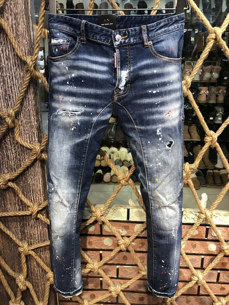 Best Selling Denim Trousers Men D2019 Fashion High-end Hole Patch Grinding Micro-slim Slim Casual Small Straight Foot Male A225