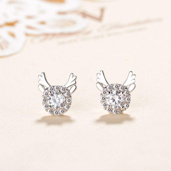 2019 New Arrival Fashion Genuine 925 Sterling Silver Stud Earrings Crystal Zircon Earrings For Women Wedding Jewelry Best Christmas Gift