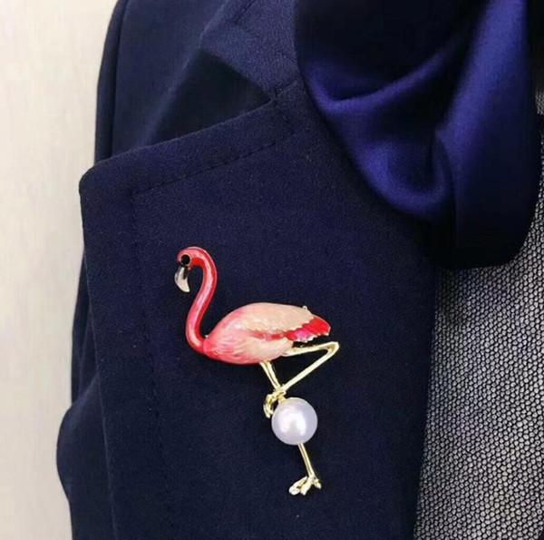 Broche de Animais Dos Desenhos Animados Flamingo Pinos Esmalte Broche Icons 3D Impressão Broches Para Mulheres Moda Crachá Broches Jóias Frete Grátis