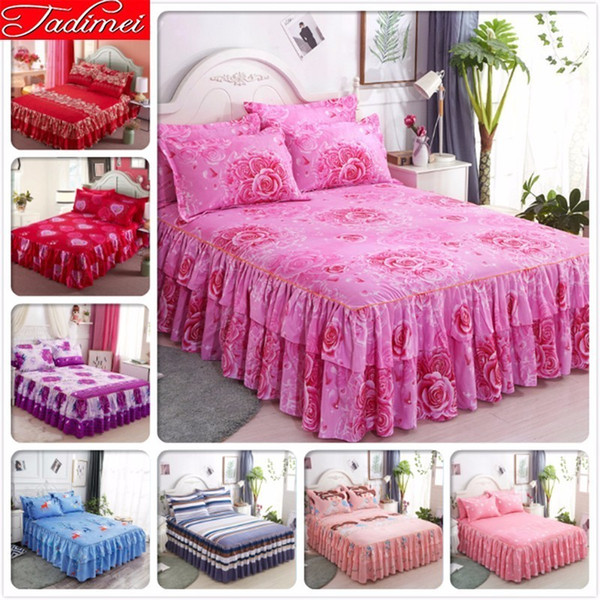Pink Couple Adult Wedding Kids Girl Bed Skirts Single Double Twin Full Queen Size Bed Sheet Cover Linen Bedspreads Bedskirt 1.5m