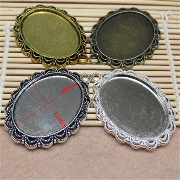 10pcs/lot Metal Alloy Flower Pendant Blank Base Settings Fit 30x40mm Glass Cabochon Cameo Bases Bezel Trays DIY Jewelry Making