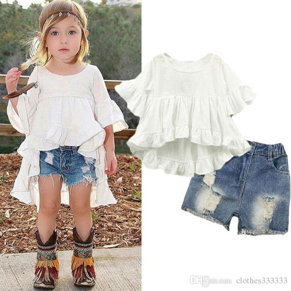 New children's suit fashion swallow tail wrinkle dress + jeans 2 suit white coat shorts