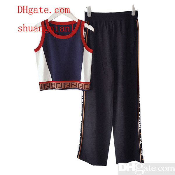 2019 New Summer Women Clothes F Jacquard Letters Sleeveless Thin Knit Vest Wide Trousers Sets Tracksuit 2 Piece Woman Set Size S-L