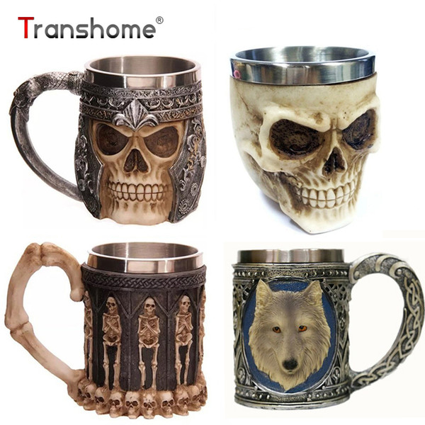 Trasnhome 3d Creative Skull Mug Double Wall Stainless Steel Tea Cup Milk Bottle Coffee Mug Skull Knight Tankard Travel Mugs Cups C19041302
