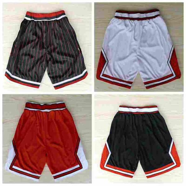 2019 cheap Men Red White Black stripe ChicagoBullss Shorts Men's football Shorts 100% Stitched Pant soccer short hot sale size S-XXL