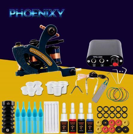 Complete Tattoo Machine Kit Set 1 Coils Guns 4 Colors Black Pigment Sets Power Tatoo Beginner Grips Kits Permanent Makeup
