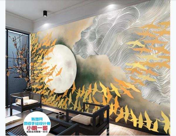 Personnalisé 3d soie peintures murales papier peint New Chinese Ultra HD peint à la main Mille Oiseaux TV Fond Mur Encre Peinture Murale Décoration