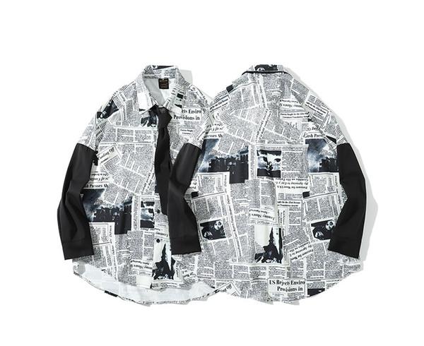Wholesale 2019 mens designer t shirts long sleeve dress shirts print English Newspapers Casual turn-down collar men s clothing Social Shirts