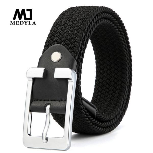 Cintura da uomo in nylon elasticizzato MEDYLA Cintura alta qualità con bottone in metallo Cintura da allenamento sportiva da esterno Jeans universale SDL806