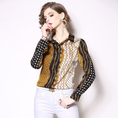 2019 bahar yeni moda POLO yaka gömlek tek göğüslü baskılı desen zincir uzun kollu büyük isim kadın ince gömlek kadın