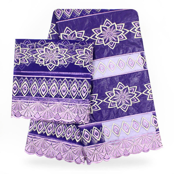 Te016purple High Quality Embroidered African Bazin Net Lace Fabric 5yards+2yards French Lace Fabric Set For Making Party Dress