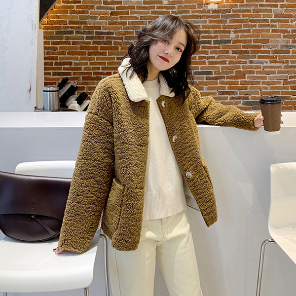 f97ebfebf 2019 MUMUZI Faux Fur Warm Winter Coat Sheepskin Women Fashion Fluffy Shaggy  Cardigan Bomber Jacket Lady Coats Buttons Outwear From Keviny, $58.29 | ...