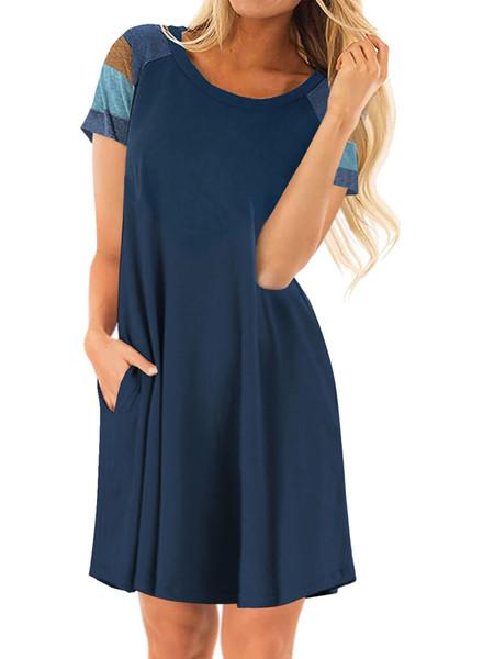 Frauen kleider frauen kleidung streifenhülse sommer europäische usa rundhalsausschnitt reine farbe heißer verkauf hohe qualität