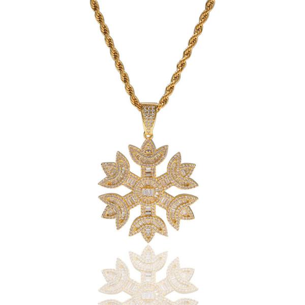 Floco de neve colar de pingente banhado a ouro de cobre Embutidos Cubic Zirconia Snowflake Pingente 60 centímetros de aço inoxidável Cadeia Hip Hop Jewelry