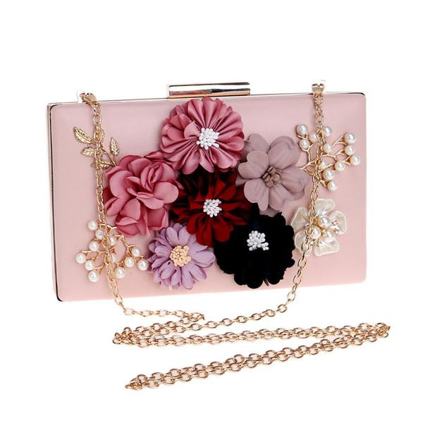 Women Luxury Handbags Evening Bags Bridal Pink Wedding Flower Clutch Bag Party Minaudiere Handbag Purse Dinner Decoration Shoulder Bags