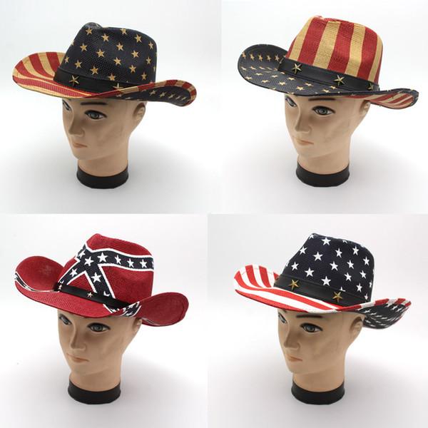 Ouest Cowboy papier Chapeau de paille Drapeau américain Chapeau Mode Rétro extérieur Voyage Été Mer Paille Brim Large GH-615 Sunhat