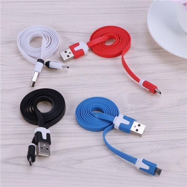 Android Fast Charger Cable Sync Noodle Durable Micro USB Flat Quick Charger Cable for MP3 Player Tablet Smartphone Cell Phone Samsung